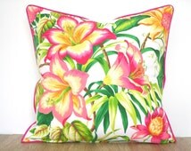 Pink throw pillow cover 20x20 in floral print, colorful accent pillow for couch Hawaiian decor, tropical chair cushion Palm Beach Decor