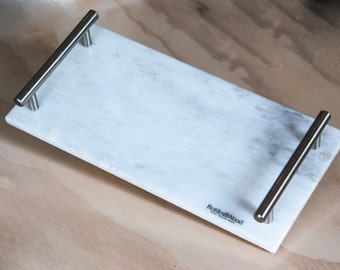 Marble Serving/Vanity Tray With Stainless Steel Handles