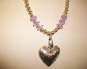 "Large Silver Heart and Lavender Sea Glass  24"" Silver and Lavender Necklace   Free Shipping in USA"