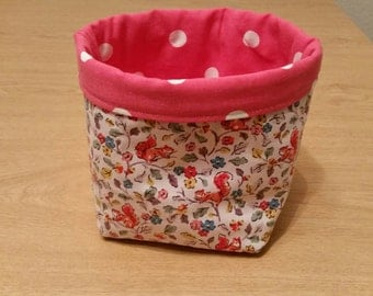 Bits & bobs Storage basket/box/tub in Cath Kidston Squirrel fabric/Red Spot