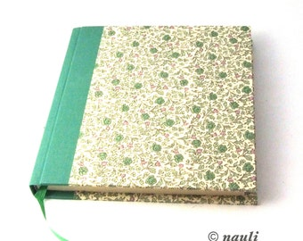 floral Diary, square Notebook, Poetry Album green bush rose flowers