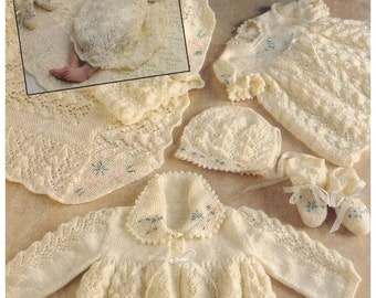 Knitting PATTERN - Baby's Layette incl Shawl, Dress, Jacket, Bonnet and Booties