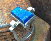 Lapis Lazuli Sterling Silver Geometric Egyptian Style Ring