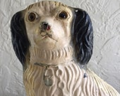 vintage Staffordshire King Charles spaniel Carnival chalkware dog hime decor kitsch