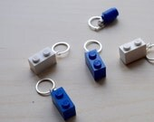 Blue and White Lego Stitch Markers - Set of Five