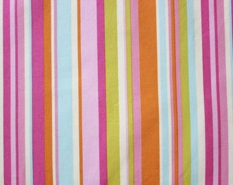 Stripey Fabric by Sandra Henderson, Farmers Market Fabric, Lime Green, Pink, Striped Fabric