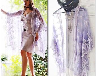 Cyber Monday sale, Gypsy lace kimono, Romantic prince purple kimono, Boho clothing, Fringed hippie woodstock duster, True rebel clothing