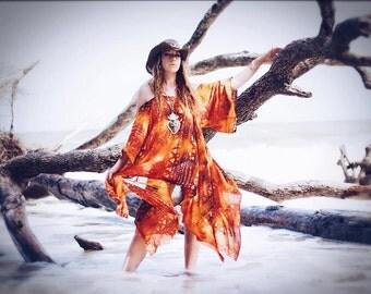 Boho Batik sundress, Bohemian Hippie mexicali dress, Batik gauze day tripper casual day dress, Autumn gold, orange, True rebel clothing OS