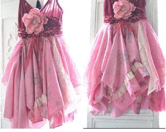 SM Gypsy velvet dress, Stevie nicks dress,  Raspberry woodland Fairy dress, Boho clothes, Boho dress Lace dresses, Pixie True rebel clothing