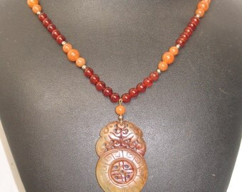 """Vintage Two Tone Carnelian Hand Carved Pendant Necklace 20"""""""
