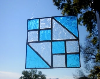 Stained Glass, Suncatcher, Jewel Box Pattern, Blue Clear