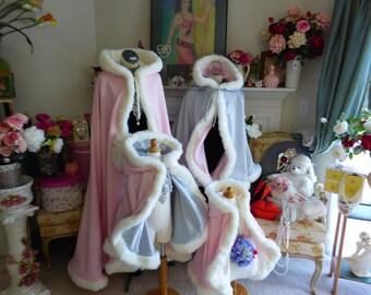 Sleeping Beauty Bridal Cape  27-inch  Hip-Length Silver / Pale Pink Satin with Fur Trim Wedding Cloak Handmade in USA