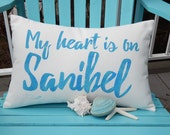 "Outdoor pillow MY HEART is on SANIBEL barrier island 12""x20"" SanCap indoor outdoor Captiva seashell wildlife Florida Crabby Chris™"