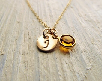 Custom Necklace, Hand Stamped Initial Necklace and Birthstone, 14kt Gold Filled, Personalized Jewelry, Birthstone Necklace, Engraved Jewelry