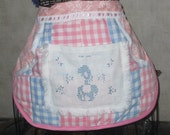 Apron clothes pin apron Great to gather eggs; craft supplies eco recycled quilt top vintage embroidery quilted