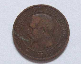 Napoleon III French 1853 Bronze Coin 10 Centimes
