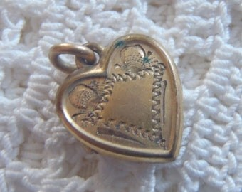 Vintage Heart Locket Engraved Photo Holder Gold Filled Tiny Size
