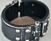 Machined Aluminum Cuff with Leather Inlay - Distressed Black
