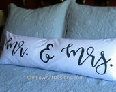 Couples Mr and Mrs Pillow Cover 12 X 36 Black and White Lumbar Made in Canada