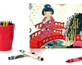 Kimono Deluxe Crayon Wallet, Ready to ship, Crayon organizer, Children's coloring toy, Art wallet, Stocking stuffer, Travel toy