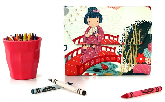 Kimono Deluxe Crayon Wallet, Easter gift, Ready to ship, Crayon organizer, Children's coloring toy, Art wallet, Stocking stuffer, Travel toy