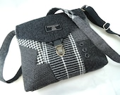 Crossbody bag, Crossbody Purse, Recycled Crossbody Purse, Handbag, Recycled wool, iPhone pocket,Recycled mens suit coat, Ready to Ship