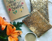Sequin Clutch Personalized Gift Idea for Her Monogram Gold Sequins Clutch Purse Women Pouch Makeup Cosmetic Bag Wedding Bride Party
