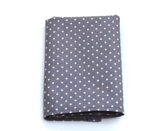 Pocket Square for Men - Gray Pin Dot - Grey and White Polka Dot Kerchief Hankie - In Stock