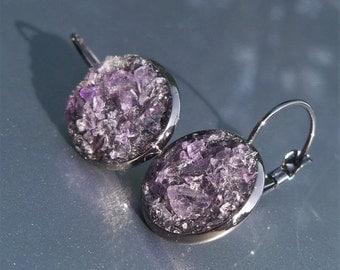20% OFF Amethyst Crater Earrings Lever Back Black Tone Earrings