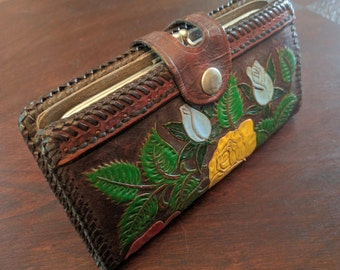 Tooled & Painted Leather Wallet