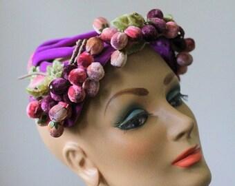 1930s Hat Antique Cloche Purple Velvet Hat Cage Hat Antique Fascinator 1940s Hat Velvet Cloche Leaves Grapes Avant Garde Photo Shoot