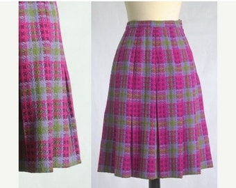 Vintage Pink Skirt Pink Wool Skirt 1960s Skirt 60s Skirt Womens Pink Skirt Hot Pink Skirt Box Pleated Skirt Size Extra Small XS