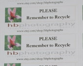 Please Remember to Recycle Labels, Custom Shop Labels, Recycle Labels