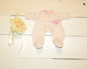 Floral Patterned Footed Sleeper - 12 inch doll clothes
