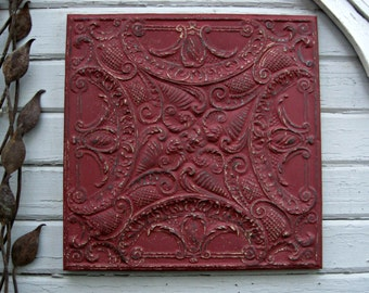 Tin Ceiling Tile,  ANTIQUE Architectural salvage,  FRAMED 2'x2' Tin Ceiling Tile,  Red Metal Wall decor. Vintage metal tile.