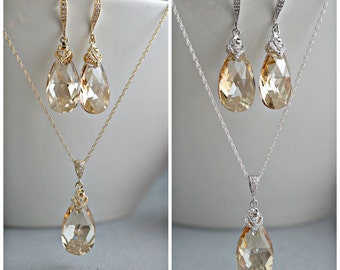 Bridal Champagne Jewelry set Swarovski Large Golden Shadow Teardrop Crystal, Choice of sterling silver or 14k gold filled, Bridesmaid gifts.