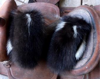 Skunk fur mittens handmade small with purple fleece liner