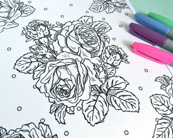 Printable ROSE ENGRAVING style Coloring Page!- Digital File Instant Download- floral, flowers, art, adult coloring