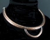 Choker collar, TV character slave collar, textured copper with patina, 005