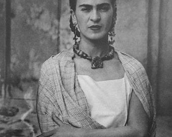Frida Kahlo Holding Smoking Cigarette Artist Portrait Photo Mexico Mexican Mexicana Reprint Black & White Photography Photo Print