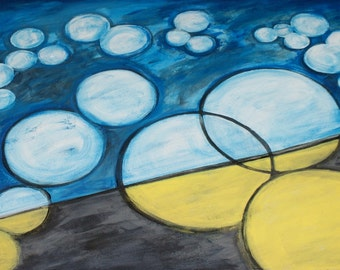Modern Abstract Yellow Blue Circles Round Pattern Grey Gray Black Cyan Acrylic on 24x30 Inch Stretched Canvas Fine Art Acrylic Painting OOAK