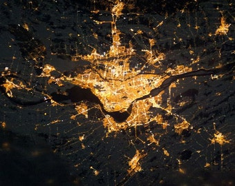 Montreal Night Lights from Space Satellite View Montréal la Nuit island City Streetlights Space Art Urban Nasa Earth Photography Photo Print