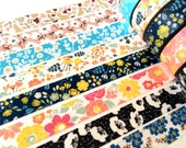 Single Japanese Washi Masking Tape - Beautiful 15mm Flower Tapes at you choice for wedding, baby shower, birthday party, party favor, deco