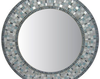 Round Bathroom Mosaic Wall Mirror - Charcoal, Gray, & Silver