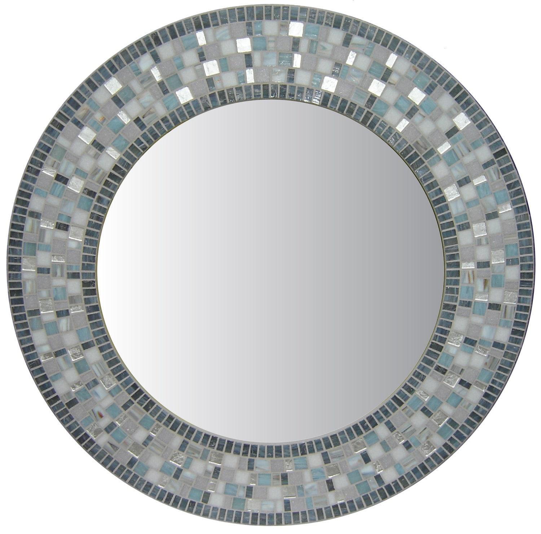Round bathroom mosaic wall mirror charcoal gray silver for Mosaic mirror