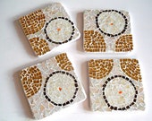 Stained Glass Mosaic Coasters, Mirror, Stained Glass, Neutral, Gold, Light Tan, Coasters, Trivet, Table Decor - Set of 4, 4 Inches