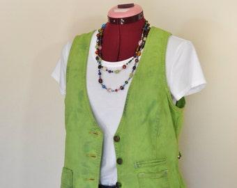 Green Medium Denim VEST - Leafy Lime Green Dyed Upcycled Gap Cotton Denim Vest - Adult Womens Size Medium (40 chest)