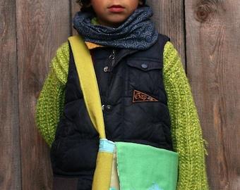 eco-friendly toddler messenger bag,reclaimed fabrics,ooak,green,turquoise, leather shark design,boy or girl,daycare bag