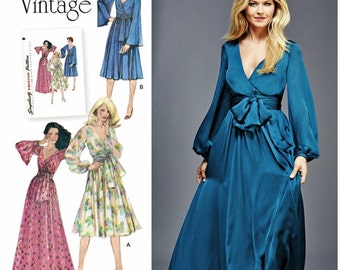 Evening Dress Pattern, 1970's Vintage Dress Pattern, Mock Wrap Evening Gown Pattern, Simplicity Sewing Pattern 8013