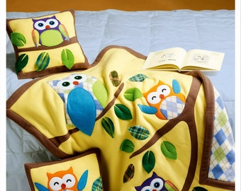 Owl Appliqué Pillows and Quilt Pattern, Owls Fleece Throw Pattern, Owl Pillows Pattern, McCall's Sewing Pattern 6482